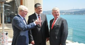 John McSweeney, head of Innovation at ESB, Serdar Bilgiç, head of energy generation at Unit and Tánaiste and Minister for Foreign Affairs and Trade, Eamon Gilmore  T.D  pictured at the announcement that ESB International has won its first contract in Turkey valued at ¤30 million.
