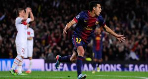 Pedro of Barcelona celebrates scoring his side's equalising goal against  Paris St Germain at the Nou Camp. Photograph: David Ramos/Getty Images
