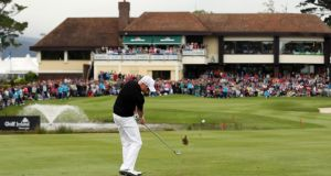 Simon Dyson plays to the 18th green at Killarney on the way to winning the 2011 Irish Open. Photograph: Inpho