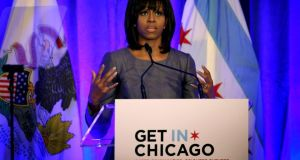 Michelle Obama during a speech about combatting youth violence at a lunch in Chicago yesterday. Photograph: Scott Olson/Getty Images