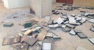 The remains of books set ablaze by retreating jihadists at the Ahmed Baba Institute in Timbuktu. Photograph:  Mary Fitzgerald