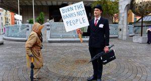 """Ivor Bailout"" a Halloween zombie protester, outside the Central Bank last year  Photograph: Eric Luke / THE IRISH TIMES"
