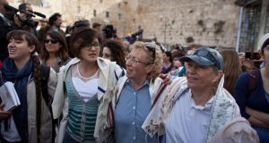 Members of the religious group Women of the Wall, during a prayer marking the first day of the Jewish month of Iyar at the Western Wall in Jerusalem's Old City, Israel. Photograph:  Getty