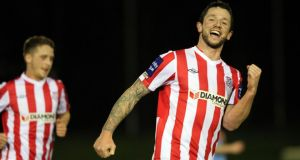 Derry City's in-form Rory Patterson, who faces Dundalk tonight,  celebrates his hat-trick at the UCD Bowl last month. Photograph: Inpho