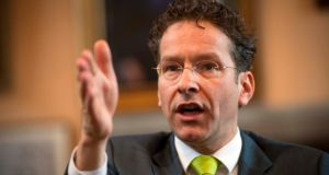 Jeroen Dijsselbloem: president of the eurogroup, in his alma mater UCC yesterday. Photograph: Michael Mac Sweeney/Provision