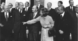 Margaret Thatcher surrounded by other European leaders, including then taoiseach Jack Lynch, French president Valéry Giscard d'Estaing, president Patrick Hillery and Italian prime minister Francesco Cossiga, at Áras an Uachtaráin in 1979. Photograph: Eddie Kelly