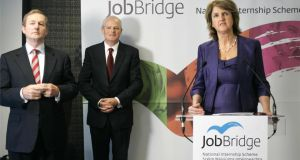 Minister for Social Protection Joan Burton launching the JobBridge internship scheme with Taoiseach Enda Kenny and HP Ireland managing director  Martin Murphy. Photograph: Dara Mac Dónaill/The Irish Times