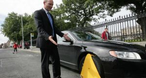 Simon Coveney, Fine Gael transport spokesman in August  2010,  at the publication of the party's Vehicle Immobilisation Regulation Bill.  Photograph: Eric Luke