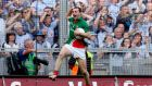 Mayo's Keith Higgins celebrates at the final whistle of last year's semi-final. Photograph: James Crombie/Inpho