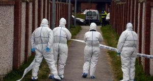 The scene as forensic team members worked last week at Coneyboro Estate in Athy where a man was shot . Photograph: Cyril Byrne / THE IRISH TIMES