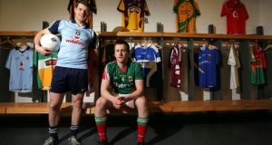 Dublin's Kevin McManamon and Cillian O'Connor of Mayo. Photograph: Lorraine O'Sullivan/Inpho