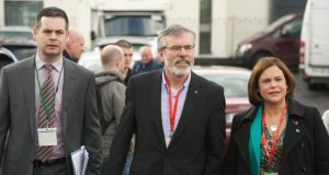 Gerry Adams TD with Pearse Doherty TD and Mary Lou McDonald TD arriving at the Sinn Féin ardfheis in the TF Royal Hotel and Theatre, Castlebar, Co Mayo. Photograph: Keith Heneghan/Phocus