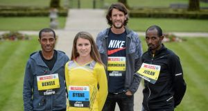 Kenenisa Bekele (Ethiopia), Linda Byrne (Ireland) Collis Birmingham (Australia) and Ibrahim Jeilan (Ethiopia) ahead of the Spar Great Ireland Run.