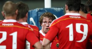 Jerry Flannery speaks to his Munster teammates during a match against Leinster in 2009. Photograph: Billy Stickland/Inpho