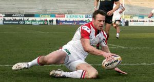 Ulster's Tommy Bowe scores against Dragons at Ravenhill. Photograph: Morgan Treacy/Inpho