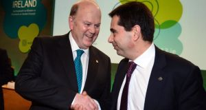 Michael Noonan, Minister for Finance, with his Portuguese counterpart Vitor Gaspar,  at the informal meeting of Ecofin ministers at Dublin Castle yesterday. Photograph: Alan Betson