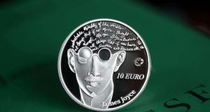 A view of a limited edition James Joyce collector coin issued by the Central Bank.