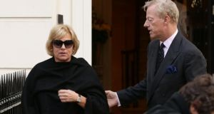 Mark Thatcher greets his sister Carol as she arrives at the home of their monther in Belgravia, London. Photograph: Yui Mok/PA Wire