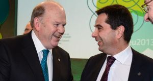Minister for Finance Michael Noonan  with Vitor Gaspar, Portugal's minister for finance at the meeting of Ecofin ministers at Dublin Castle. Photograph: Alan Betson