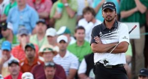 Jason Day of Australia after finishing the second round of the 2013 Masters Tournament at Augusta National in the lead on six under par. Photograph: Andrew Redington/Getty Images