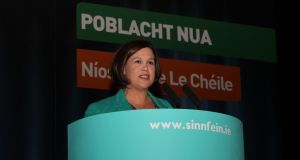Sinn Féin deputy leader Mary Lou McDonald TD addresses the party's árdfheis. She urged party members to vote in favour of a motion allowing them to vote on the issue of abortion according to their conscience. Photograph: Sinn Féin.