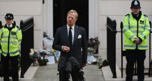Mark Thatcher speaks to the press outside the home of former British Prime Minister, Baroness Margaret Thatcher  in London last week. Photograph: Gerry