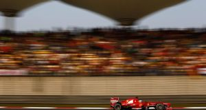 Fernando Alonso of Spain and Ferrari in action during the Chinese Formula One Grand Prix at the Shanghai International Circuit. Photograph: Vladimir Rys/Getty Images