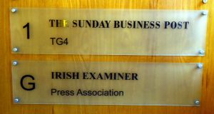 The name plate of the Harcourt Street offices for the The Sunday Business Post and The Irish Examiner. Photograph: Brenda Fitzsimons/The Irish Times