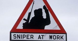 """Sniper at work""  badges costing €4 were on sale at Sinn Féin's conference in Castlerbar, Co Mayo over the weekend."
