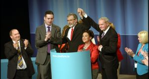 Sinn Féin leader Gerry Adams, Mary Lou McDonald, Martin McGuinness and Pearse Doherty (left) after the leader's address at the Sinn Féin Ardfheis   in the Royal Theatre, Castlebar, Co Mayo, at the weekend. Photograph: Brenda Fitzsimons
