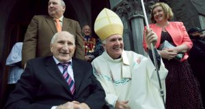Bishop Brendan Leahy, ordained 47th Bishop of Limerick at St John's Cathedral, Limerick, with his father, Maurice Leahy. Photograph: Kieran Clancy Bishop Brendan Leahy with his father, Maurice Leahy. Photograph: Kieran Clancy