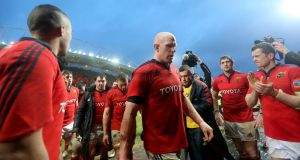 A dejected  Paul O'Connell leaves the field following the defeat by Leinster at Thomond Park. Photo: James Crombie/Inpho