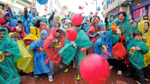 The eruption of silliness continues at the launch of the Laya Healthcare Street Performance World Championships.  Photograph: Dave Meehan/The Irish Times