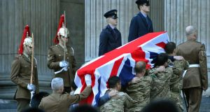 Rehearsing the funeral of oMargaret Thatcher at St. Paul's Cathedral in London. Photograph: Reuters