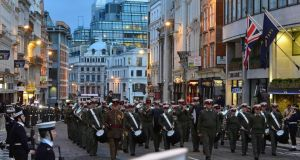 The rehearsal for Margaret Thatcher's funeral marches up Ludgate Hill. Photograph: Reuters