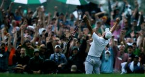 Adam Scott of Australia celebrates winning the Master. Photograph: Phil Noble/Reuters