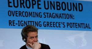Deputy director of the IMF's European Department and mission chief for Greece Poul Thomsen attending a  meeting in Athens today, where  Greece announced it would  seek a drastic debt cut from its euro zone partners if it manages to beat its fiscal targets for this year. Photograph: John Kolesidis/Reuters