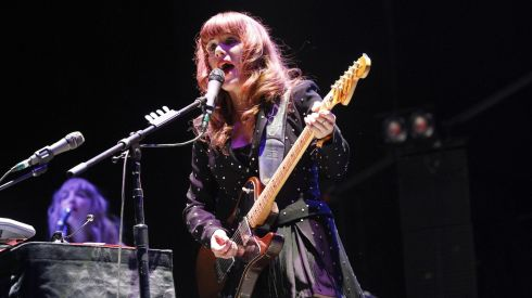 Taking it live: performing at the Coachella music festival over the weekend in California was Jenny Lewis of The Postal Service. Photograph: Mario Anzuoni/Reuters