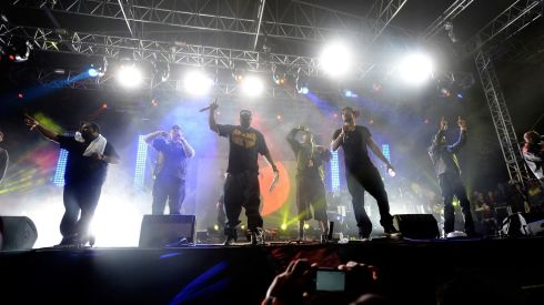 Rapping it up: Wu-Tang Clan perform. Photograph: Frazer Harrison/Getty Images