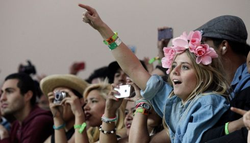 They'll be wearing flowers in their hair for Vampire Weekend. Photograph: Mario Anzuoni