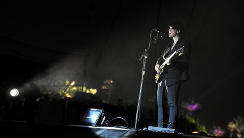 Romy Madley Croft of The xx in action. Photograph: Kevin Winter/Getty Images