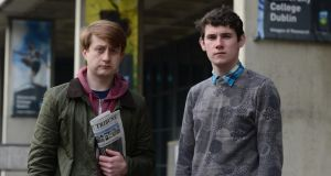 Co-editors of the College Tribune at UCD, left, James Grannell and Cathal O'Gara. Photograph: Cyril Byrne