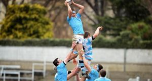 A leg up: fee-paying schools are seen to give students an advantage. St Michael's College and Blackrock College clash in the Leinster Schools Senior Cup Final last month. Photograph: Eric Luke
