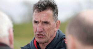 Munster head coach Rob Penney speaks to reporters yesterday. Photograph: Morgan Treacy/Inpho