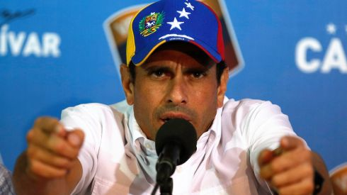 Opposition leader Henrique Capriles gives a news conference on April 15th over the results in the previous day's election. He called on Venezuelans to take to the streets and peacefully demand a vote recount.  Photograph: Tomas Bravo/Reuters