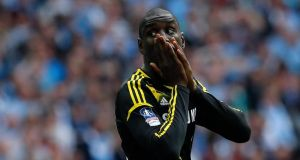 Chelsea's Demba Ba reacts after missing a goal attempt against Manchester City during their FA Cup semi-final at Wembley. Photograph: Suzanne Plunkett/Reuters