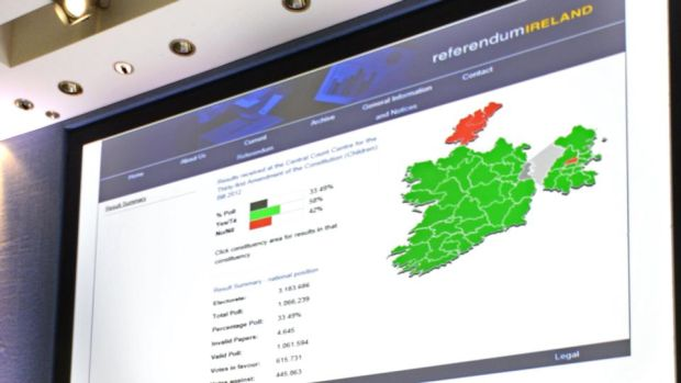 A screen shows the result of the Children's Referendum on the main stage at the count centre in Dublin Castle after the results were announced last November. Photograph: Alan Betson/The Irish Times