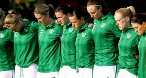 The Ireland Women's team. Photograph: James Crombie/Inpho