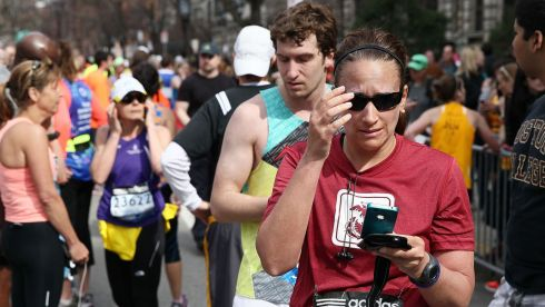 Upset and chaos as runners realise what is happening. Photograph: Alex Trautwig/Getty Images