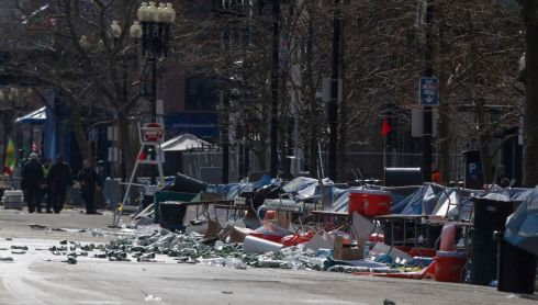 The scene of one of the explosions near the end of the Boston Marathon finish line. Photograph: Scott Eisen/Reuters